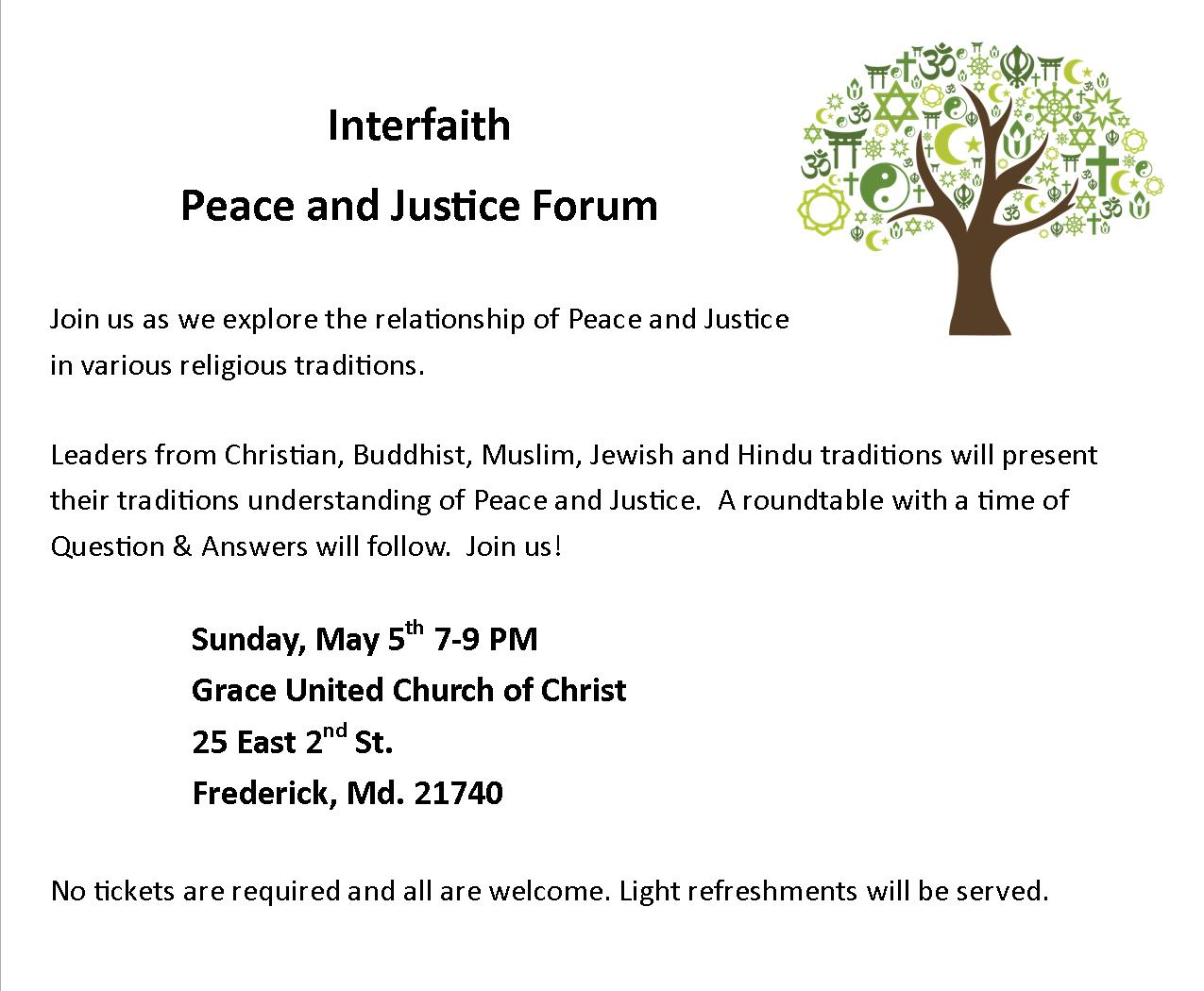 interfaith peace and justice forum short